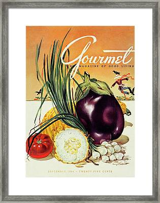 A Gourmet Cover Of Vegetables Framed Print by Henry Stahlhut