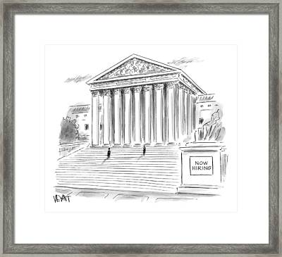 A Government Building Is Seen With A Now Hiring Framed Print