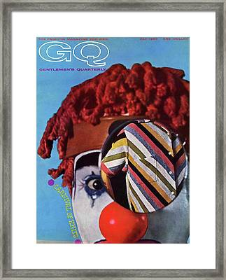 A Gq Cover Of A Clown And A Jacket Framed Print by Chadwick Hall