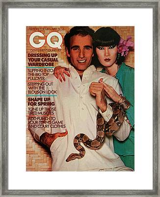 A Gq Cover Of A Couple With A Snake Framed Print by Albert Watson