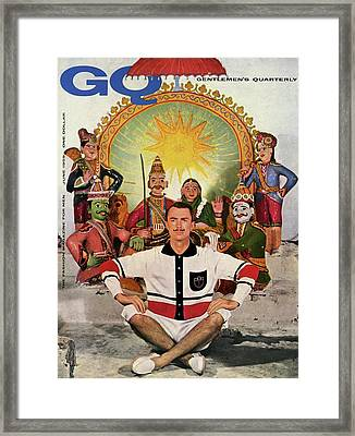A Gq Cover Of A Model At A Hindu Temple Framed Print by Emme Gene Hall