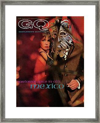 A Gq Cover Of A Model Wearing A Mask Framed Print by Chadwick Hall