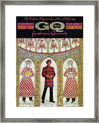 A Gq Cover Of A Model With A Persian Mosaic Framed Print by Leonard Nones