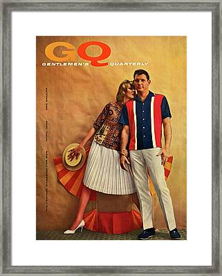 A Gq Cover Of Male And Female Models Framed Print by Melvin Sokolsky