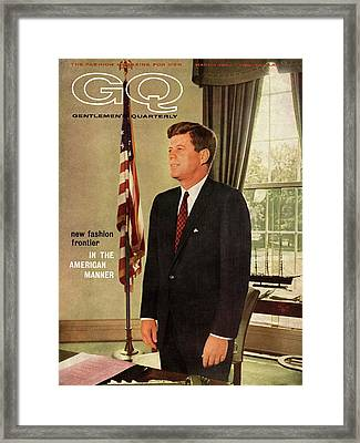 A Gq Cover Of President John F. Kennedy Framed Print by David Drew Zingg
