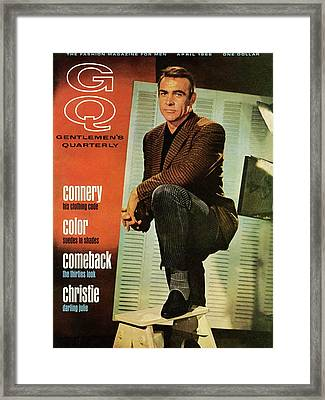 A Gq Cover Of Sean Connery Framed Print by David Sutton