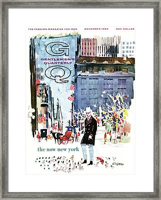A Gq Cover Of The Plaza Hotel Framed Print by Dong Kingman