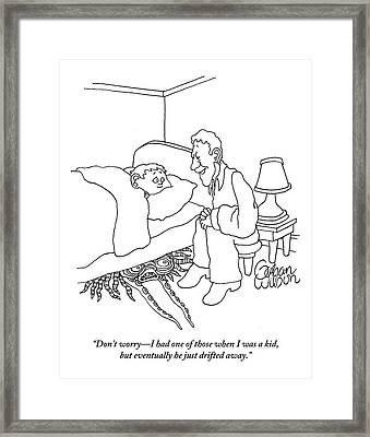 A Grandfather Tucks His Grandson Into Bed Framed Print
