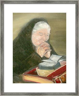 A Grandmother's Prayer Framed Print by Helena Bebirian