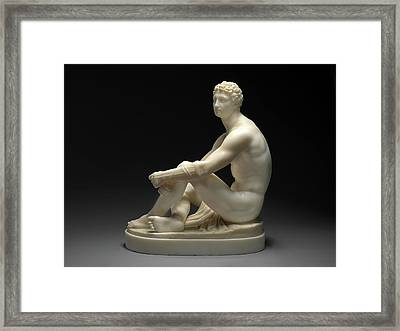 A Greek Boxer Waiting His Turn Signed By Chisel On Base Framed Print by Litz Collection