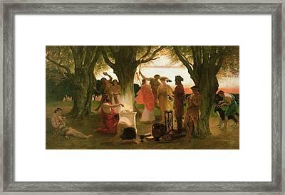 A Greek Festival Oil On Canvas Framed Print by Thomas Ralph Spence