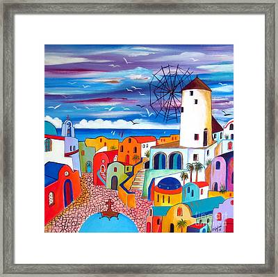 A Greek Mill And The Colors Of Oia Santorini  Framed Print by Roberto Gagliardi