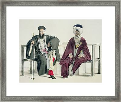 A Greek Priest And A Turk, Engraved Framed Print by Louis Dupre