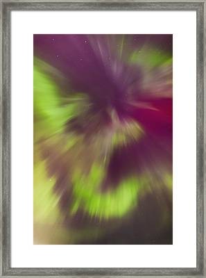 A Green And Magenta Northern Lights Framed Print