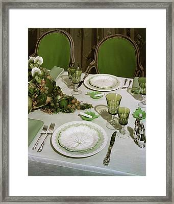 A Green Table Setting Framed Print by Wiliam Grigsby