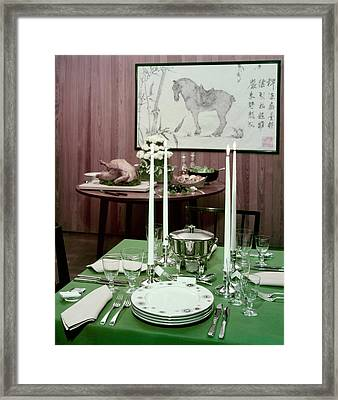 A Green Table Framed Print by Wiliam Grigsby