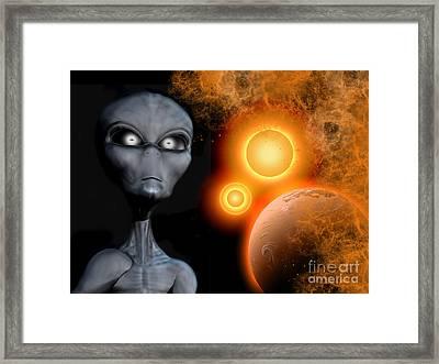 A Grey Alien From The Zeta Reticuli Framed Print