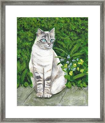 Framed Print featuring the painting A Grey Cat At A Garden by Jingfen Hwu