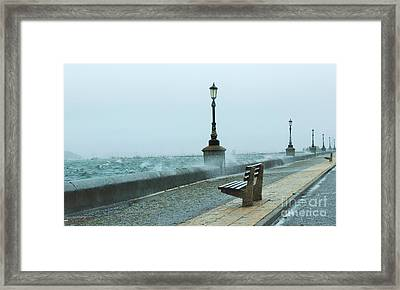 A Grey Wet Day By The Sea Framed Print