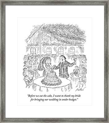 A Groom Speaks To His Bride At A Wedding Framed Print
