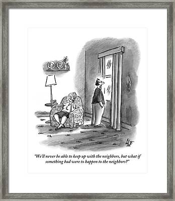 A Grouchy Husband Looks Out Of The Window Framed Print