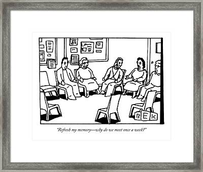 A Group Of Adults Sit In A Circle At A Group Framed Print by Bruce Eric Kaplan