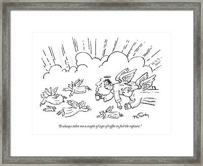 A Group Of Angels Fly In The Clouds.  One Framed Print