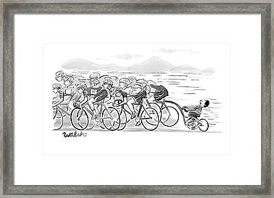 A Group Of Bikers Race Competitively. At The End Framed Print
