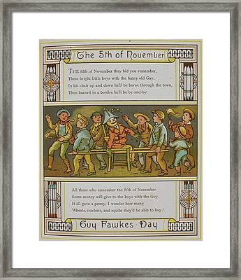 A Group Of Boys With A Guy Framed Print by British Library