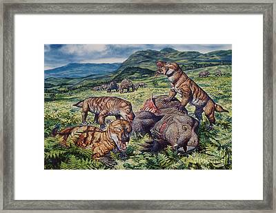 A Group Of Carnivorous Cynognathus Prey Framed Print by Mark Hallett