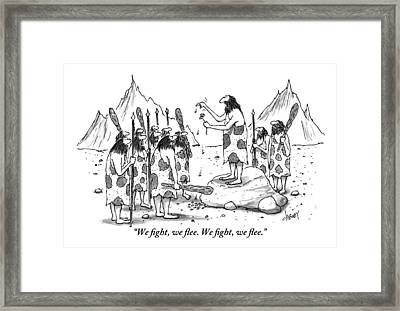 A Group Of Cavemen Gather Around A Leader Framed Print