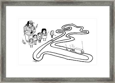 A Group Of Children And A Truck Driver Direct Framed Print by Edward Steed