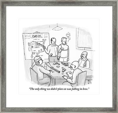 A Group Of Criminals Are Planning In A Room Framed Print by Paul Noth