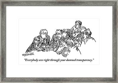A Group Of Drinking And Smoking Men Gather Framed Print by William Hamilton