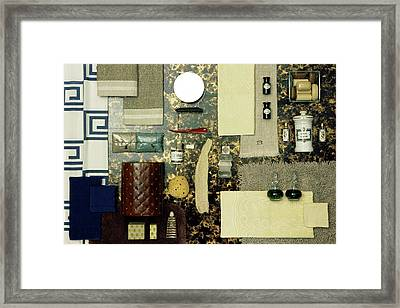 A Group Of Household Items Framed Print