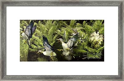 A Group Of Ichthyornis Seabirds Framed Print by Jan Sovak