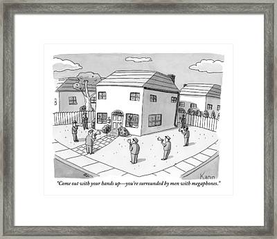 A Group Of Men With Megaphones Are Seen Circled Framed Print by Zachary Kanin