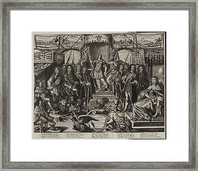A Group Of Noblemen With An Allegorical F Framed Print by British Library