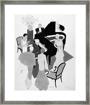 A Group Of People Around A Piano At A Party Framed Print by Jean Pages