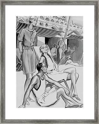 A Group Of People At The Beach At The Lido Framed Print by Ren? Bou?t-Willaumez