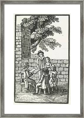 A Group Of People Being Read To. Framed Print by British Library