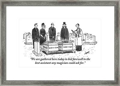 A Group Of People Including A Magician Stand Framed Print