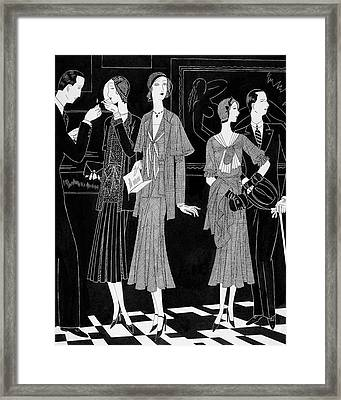 A Group Of People Standing In Front Framed Print by William Bolin