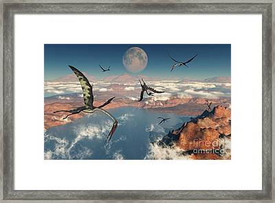 A Group Of Quetzalcoatlus Pterosaurs Framed Print