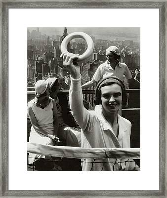 A Group Of Women On A Rooftop Deck In Manhattan Framed Print by Margaret Bourke-White