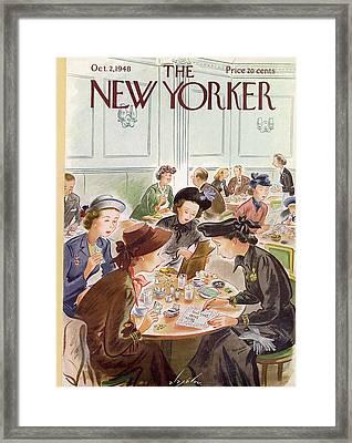 A Group Of Women Review A Dinner Receipt Framed Print by Constantin Alajalov