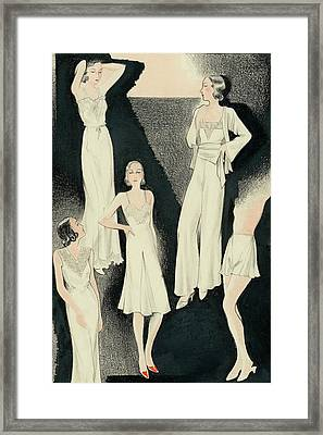 A Group Of Women Wearing White Designer Dresses Framed Print by Alix Zeilinger