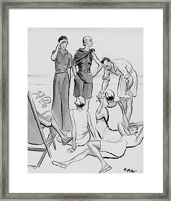 A Group Of Young People On The Lido Beach Framed Print by Rene Bouet-Willaumez