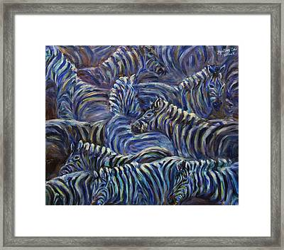 Framed Print featuring the painting A Group Of Zebras by Xueling Zou