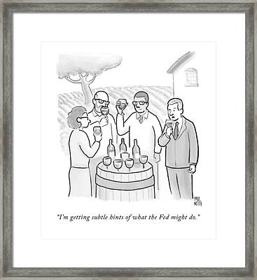 A Group Sample Wine At A Wine Tasting Vineyard Framed Print